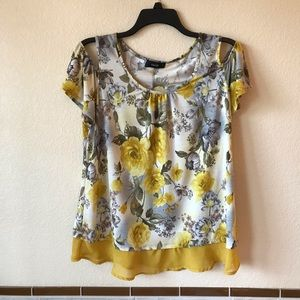 Womens Cold Shoulder Yellow Rose Print Top